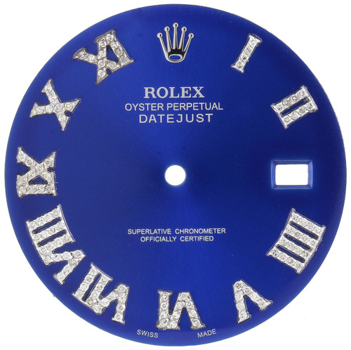 Medium Blue Dial Diamond Roman Numeral to Fit Datejust II Rolex 41mm Models 1/2 CT.