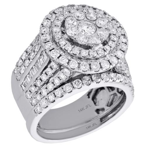 14K White Gold Diamond Bridal Set Cluster Engagement Ring + Wedding Bands 3 Ct.