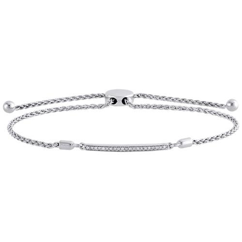 "Sterling Silver & Diamond 1 Row Bar Statement Bolo Clasp Bracelet 11"" | 1/10 CT."