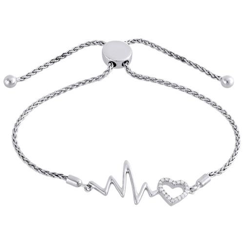 "Sterling Silver & Diamond Heart Beat Statement Bolo Clasp Bracelet 11"" | 1/8 CT."