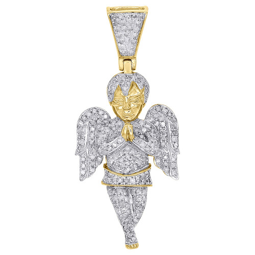 "10K Yellow Gold Praying Mini Angel Body Wing Diamond Pendant 1.70"" Charm 0.95 Ct"
