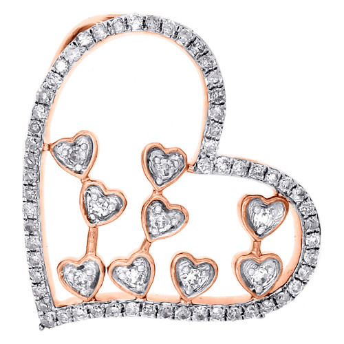 "10K Rose Gold Diamond Sideways Heart Slide Pendant Womens 0.80"" Charm 1/3 CT."