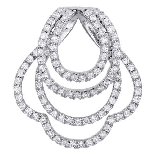 """14K White Gold Diamond Clover Frame Stacked Oval Fancy Pendant 1"""" Slide 3/4 CT."""
