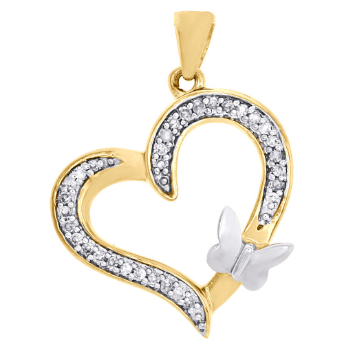 10K Two Tone Gold Round Diamond Cut Out Heart & Butterfly Ladies Pendant 1/10 Ct