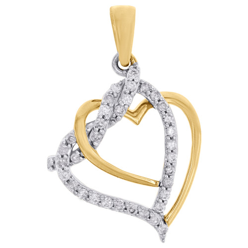 10K Yellow Gold Round Diamond Double Cut Out Heart Pendant Ladies Charm 1/5 Ct.