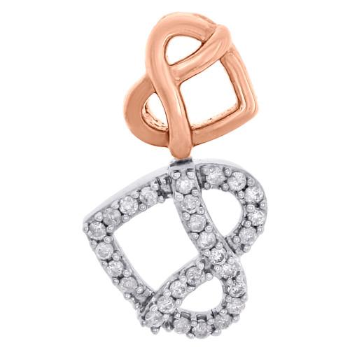 10K Two Tone Gold Diamond Sideways Double Heart Stacked Slide Pendant 0.15 Ct.