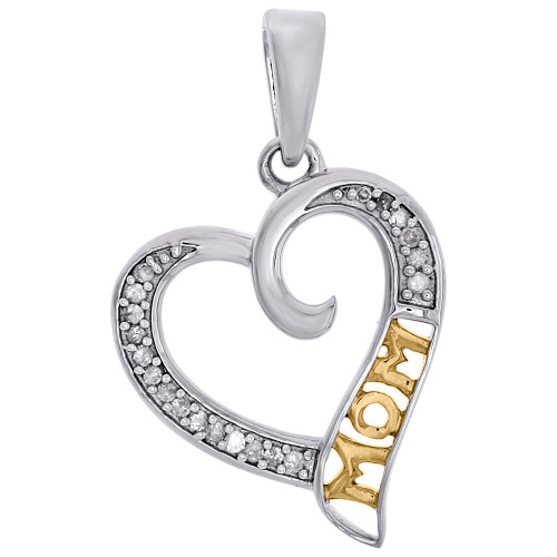 10K Two Tone Gold Diamond Slanted Cut Out Heart w/ MOM Ladies Pendant 1/10 Ct.