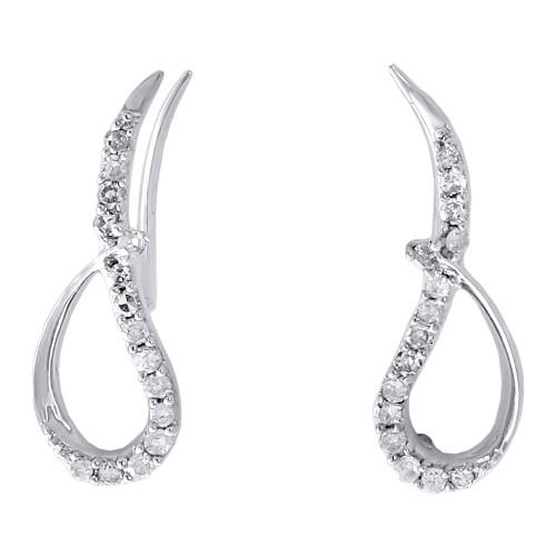 10K White Gold Round Diamond Cut Out Wings Ear Climbers Fancy Earrings 0.20 Ct.