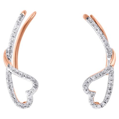 10K Rose Gold Round Diamond Cut Out Heart Ear Climbers Fancy Earrings 0.20 Ct.