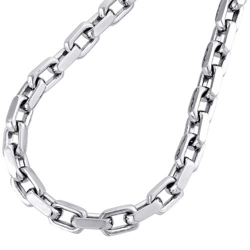 14K White Gold Solid Handmade Rectangle Square Link Chain 5.75mm Necklace 24""