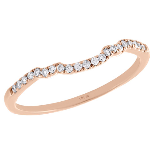 14K Rose Gold Round Diamond Contour Enhancer Ring Ladies Wedding Band 1/10 Ct.