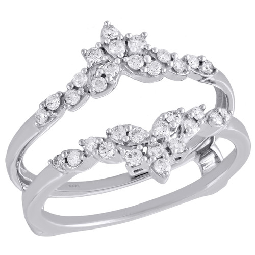 14K White Gold Diamond Solitaire Engagement Wrap Floral Enhancer Ring 0.33 Ct.