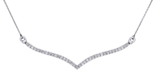 "10K White Gold Round Diamond Contour 'V' Necklace Ladies 1 Row Chain 20"" 1/4 Ct."