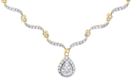 "14K Yellow Gold Diamond Contour Teardrop Choker Necklace Ladies Chain 16"" 3/4 Ct"