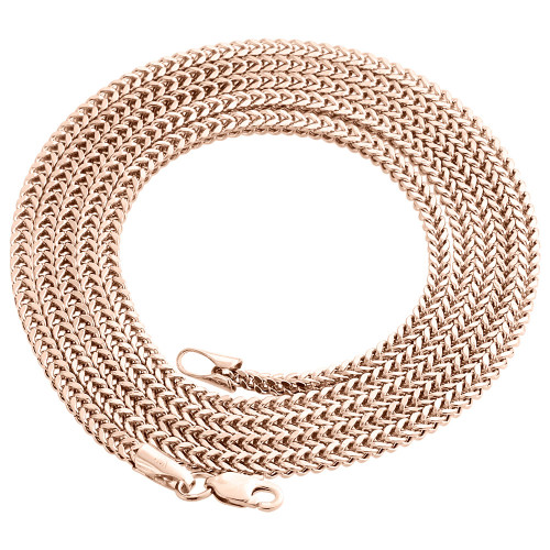 Real 10K Rose Gold 3D Hollow Franco Box Link Chain 2.25mm Necklace 22-30 Inches