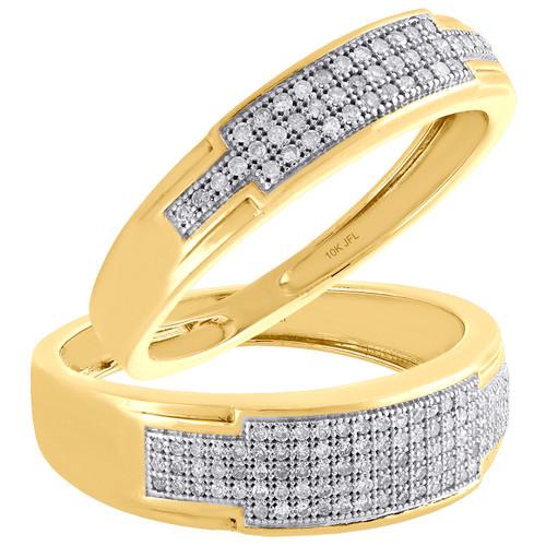 10K Yellow Gold Round Diamond Duo Set Matching Wedding Band Pave Ring 1/2 CT.