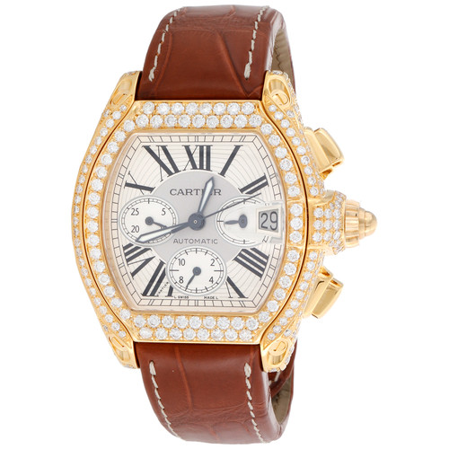 18K Cartier Roadster XL Diamond Watch Ref. 2619 Automatic Chronograph 5.83 CT.