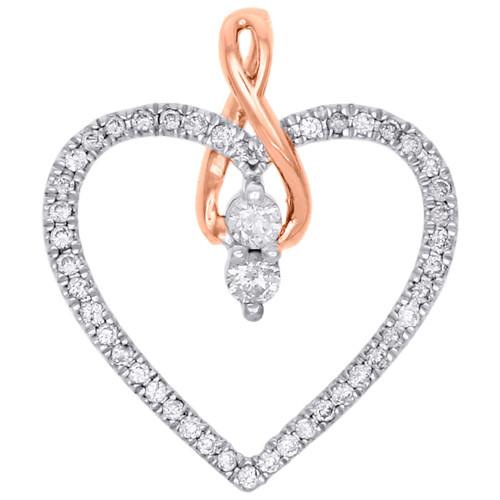 14K Rose Gold 2 Solitaire Diamond Heart w/ Infinity Pendant Ladies Charm 1/4 Ct.