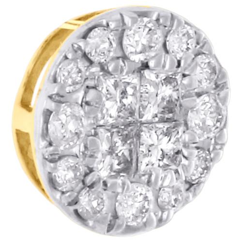14K Yellow Gold Princess & Round Diamond Circle Slide Pendant Mini Charm 1/4 Ct.