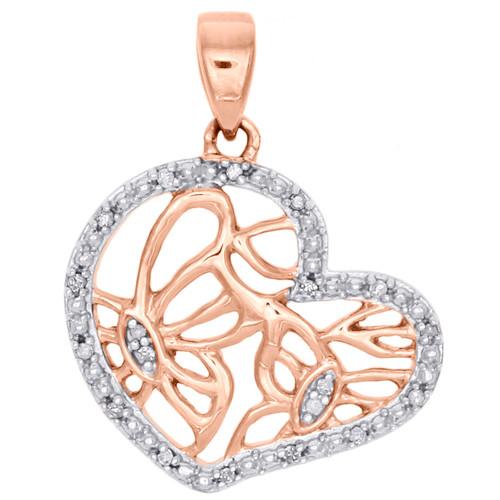 14K Rose Gold Diamond Sideways Heart w/ Butterfly Pendant Ladies Charm 1/20 Ct.