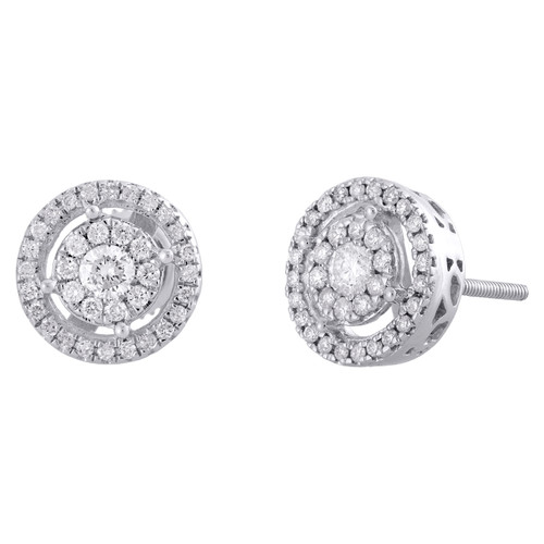 14K White Gold Round Solitaire Diamond Flower Studs Open Halo Earrings 0.50 Ct.