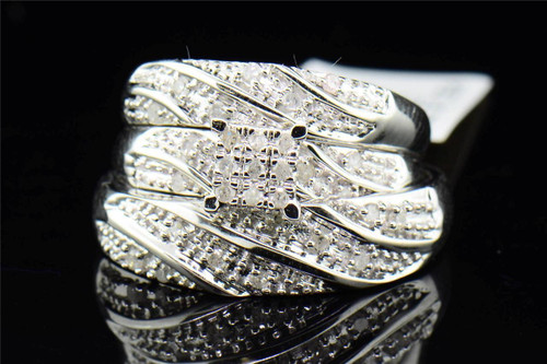 Diamond Trio Set His Hers Matching Engagement Ring Wedding Band 10K White Gold.
