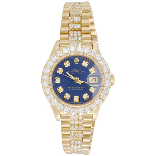 Rolex 18K Gold 26mm President DateJust 69178 VS Diamond Watch Blue Dial 4.46 CT.