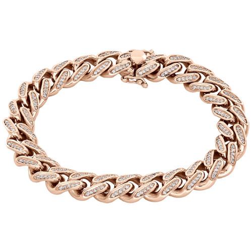 "10K Rose Gold Solid Miami Cuban Link Diamond Bracelet 11.35mm | 8.50"" | 2.10 CT."