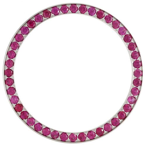 Mens Ruby Red / Pink Gemstone Bezel To Fit Rolex DateJust Watch 36mm Case 3.08CT