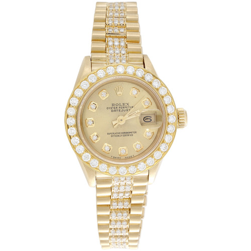 Rolex 18K Gold President 26mm DateJust 69178 VS Diamond Champagne Watch 3.70 CT.