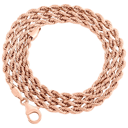 10K Rose Gold 3.25mm Semi Solid Diamond Cut Rope Link Chain Necklace 18-24 Inch