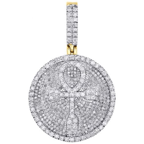 "10K Yellow Gold Diamond Ankh Cross Frame Medallion Pendant 1.60"" Charm 1.37 CT."