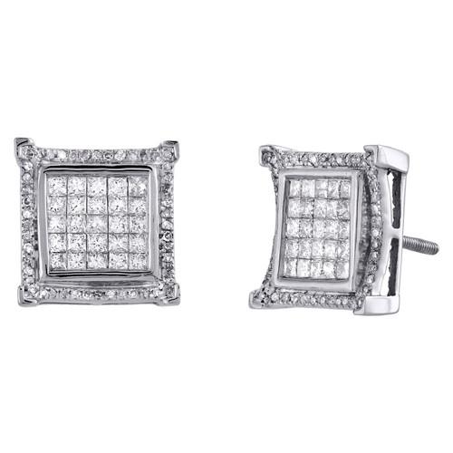 10K White Gold Princess Cut Diamond Square Frame Studs 12mm Earrings 1.25 CT.
