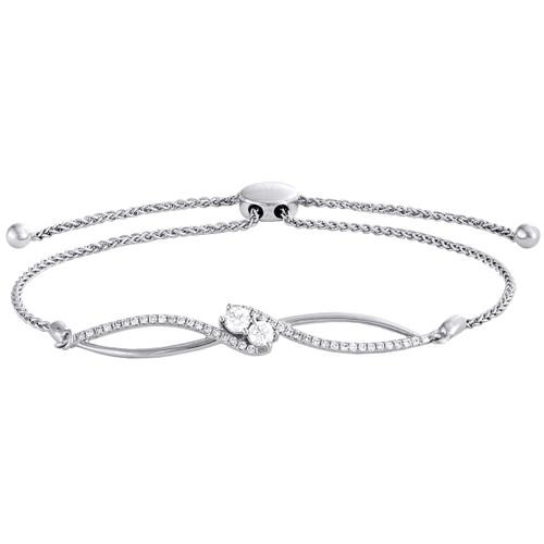 "10K White Gold Soltaire Diamond Two Stone Infinity Bolo Bracelet 12"" 0.75 Ct."