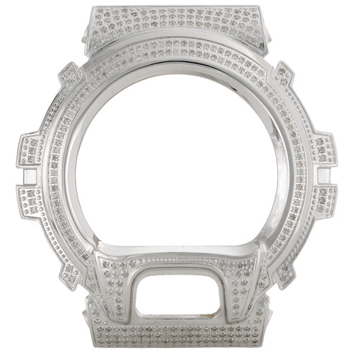 Casio Men's Real White Diamond Custom Watch Case For G-Shock Model DW6900 3 CT.