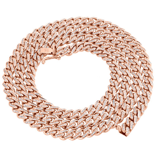 10K Rose Gold Diamond Miami Cuban Chain Necklace 20-28"