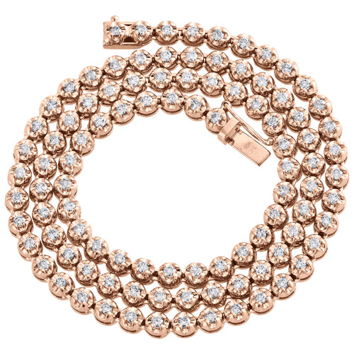 "10K Rose Gold Diamond Prong Set Tennis Choker Chain 20"" Necklace 5mm 