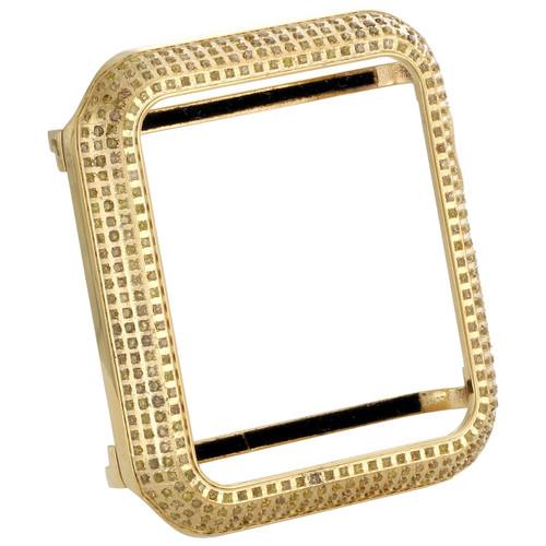 Apple Watch Stainless Steel Genuine Yellow Diamond Case 42MM Sport Bezel 1.50 Ct