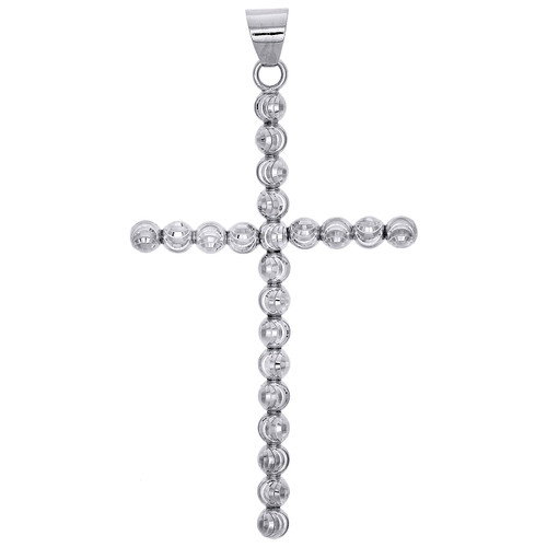 Real 10K White Gold 4mm Diamond Cut Cross Beaded Moon Cut Pendant Charm 2.50""