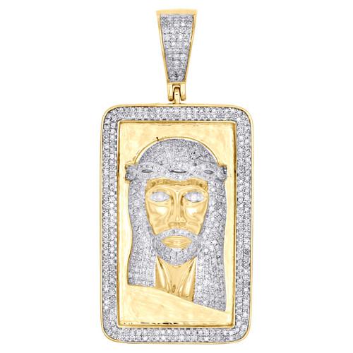 "10K Yellow Gold Diamond Jesus Face Square Frame Pendant 2"" Pave Charm 1.25 CT."