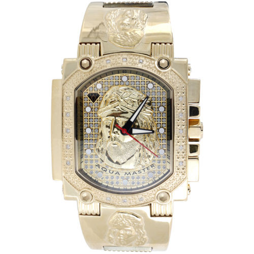 Jesus Face Mens Diamond Watch Aqua Master Jojo Jojino Joe Rodeo 0.16 Ctw W#323-Y