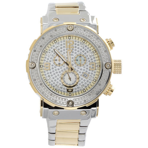 Mens Aqua Master Diamond Chronograph Watch 45mm Two Tone Steel W#146 0.25 Ct.