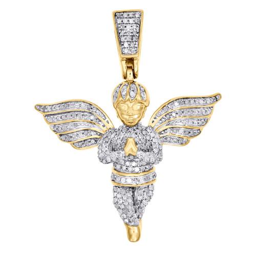 "10K Yellow Gold Diamond Mini Angel Praying Hand Pendant 1.55"" Pave Charm 3/4 CT."