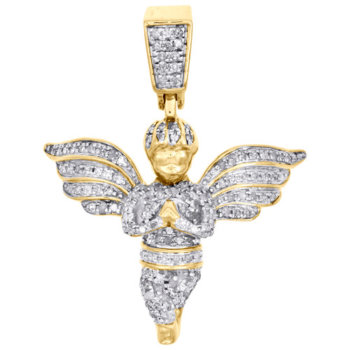 "10K Yellow Gold Diamond Mini Angel Praying Hand Pendant 1.20"" Pave Charm 3/8 CT."