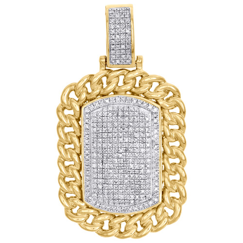 "10K Yellow Gold Diamond Dog Tag Miami Cuban Border Pendant 1.90"" Charm 7/8 CT."