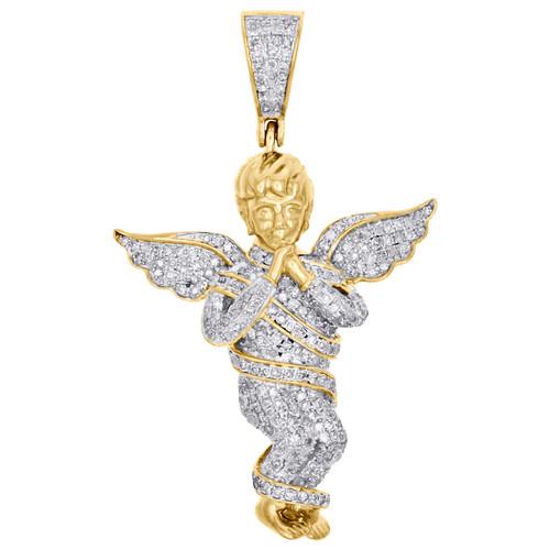 """10K Yellow Gold Genuine Diamond Praying Cherub Angel Pendant 1.65"""" Charm 7/8 CT."""
