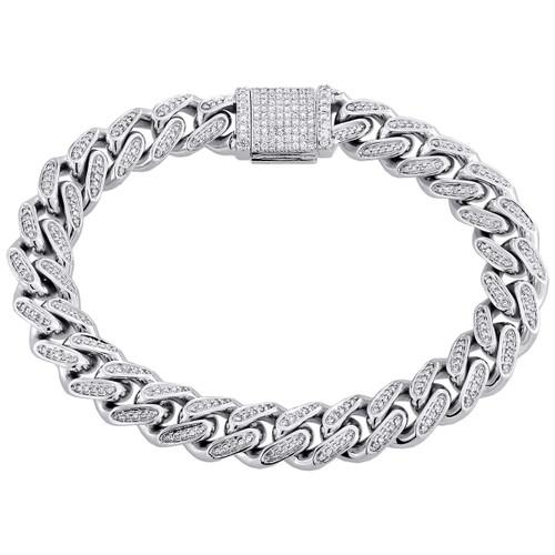 "10K White Gold 11.85mm Diamond Solid Miami Cuban Bracelet 9"" Box Clasp 3.10 CT."