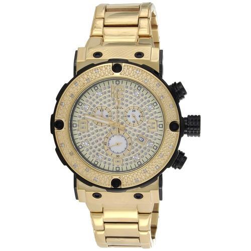 Mens Aqua Master Joe Rodeo Yellow Steel Diamond Watch 45mm Illusion Dial 0.20 CT