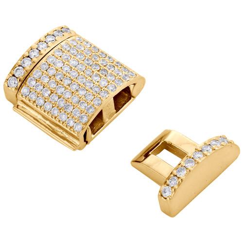 10K Yellow Gold Miami Cuban Chain / Bracelet 14mm Diamond Box Clasp Lock 1 CT.