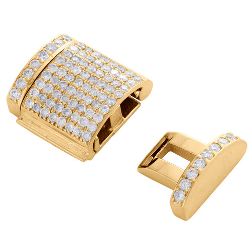10K Yellow Gold Miami Cuban Chain / Bracelet 12mm Diamond Box Clasp Lock 0.76 CT